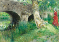 The Bridge in Grez / Medieval 1885 by Carl Larsson Framed Print on Canvas