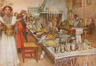 Christmas Eve 1904 by Carl Larsson Framed Print on Canvas