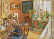 Letter-Writing 1912 by Carl Larsson Framed Print on Canvas
