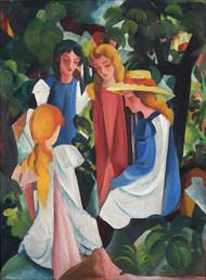 Four Girls 1912 by August Macke Framed Print on Canvas
