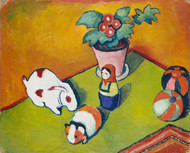 Little Walter's Toys 1912 by August Macke Framed Print on Canvas