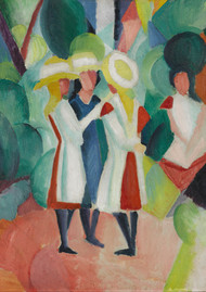 Three girls in yellow straw hats I 1913 by August Macke Framed Print on Canvas