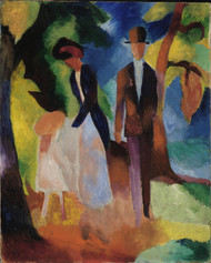 People at the Blue Lake 1913 by August Macke Framed Print on Canvas