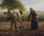 Potato Planters 1861 by Jean-Francois Millet Framed Print on Canvas