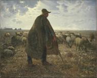 Shepherd Tending His Flock  by Jean-Francois Millet Framed Print on Canvas