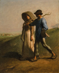 Going to Work 1851 by Jean-Francois Millet Framed Print on Canvas