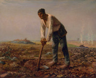 Man with a Hoe 1860 by Jean-Francois Millet Framed Print on Canvas