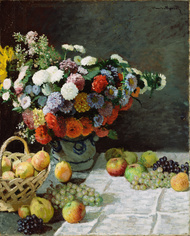 Still Life with Flowers and Fruit 1869 by Claude Monet Framed Print on Canvas