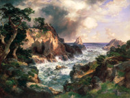 Point Lobos, Monterey, California 1912 by Thomas Moran Framed Print on Canvas