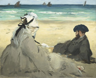 On the Beach 1873 by Edouard Manet Framed Print on Canvas