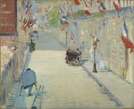 The Rue Mosnier with Flags 1878 by Edouard Manet Framed Print on Canvas