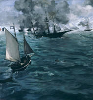 The Battle of the U.S.S. Kearsarge and the C.S.S. Alabama 1864 by Edouard Manet Framed Print on Canvas
