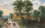 A river landscape with cottages and cattle, Antwerp in the distance by Joos de Momper Framed Print on Canvas