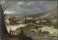 Landscape with skaters by Joos de Momper Framed Print on Canvas