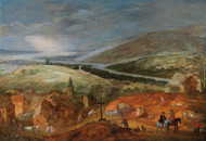 An extensive mountainous river landscape with travellers near a village by Joos de Momper Framed Print on Canvas