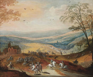 A cavalry skirmish in a hilly landscape, a convoy beyond by Joos de Momper Framed Print on Canvas