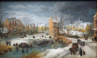 A Village in Winter by Joos de Momper Framed Print on Canvas