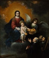 The Infant Christ Distributing Bread to the Pilgrims 1678 by Bartolome Esteban Murillo Framed Print on Canvas