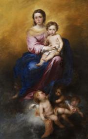 The Virgin of the Rosary 1675 by Bartolome Esteban Murillo Framed Print on Canvas