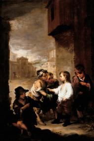 St. Thomas of Villanueva dividing his clothes among beggar boys 1667 by Bartolome Esteban Murillo Framed Print on Canvas
