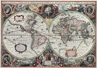The map of two hemispheres, created by Henricus Hondius in 1630  Framed Print on Canvas