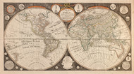 1799 Map of the world with all the new discoveries by Capt. Cook and other navigators ornamented with the Solar System, the eclipses of the sun, moon & planets  Framed Print on Canvas