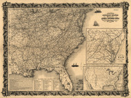 1861 Civil War Map Thayer's statistical and military map of the middle and southern states. Includes a list of -The Principal Forts in the United States- and brief descriptions of the -Position of the Rebel and Neutral States.-  Framed Print on Canva