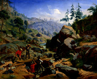 Miners in the Sierras 1851 by Charles Christian Nahl Framed Print on Canvas