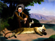Peter Quivey and the Mountain Lion 1857 by Charles Christian Nahl Framed Print on Canvas