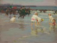 Beach Scene - Sunday on the Beach 1915 by Edward Henry Potthast Framed Print on Canvas