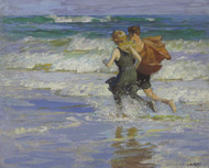 At the Beach 1918 by Edward Henry Potthast Framed Print on Canvas