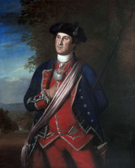 Portrait of George Washington 1772 by Charles Willson Peale Framed Print on Canvas