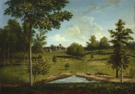 Landscape Looking Toward Sellers Hall from Mill Bank 1813 by Charles Willson Peale Framed Print on Canvas