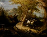 The Headless Horseman Pursuing Ichabod Crane 1858 by John Quidor Framed Print on Canvas