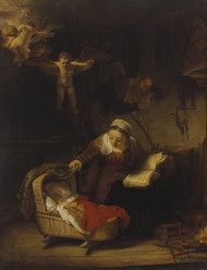 The Holy Family with Angels 1645 by Rembrandt Framed Print on Canvas