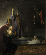 The Raising of Lazarus 1630 by Rembrandt Framed Print on Canvas