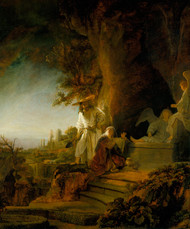 Christ and St Mary Magdalen at the Tomb 1638 by Rembrandt Framed Print on Canvas
