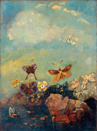 Butterflies 1910 by Odilon Redon Framed Print on Canvas