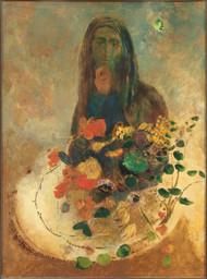 Mystery 1910 by Odilon Redon Framed Print on Canvas
