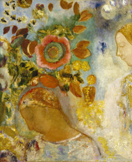 Two Young Girls among Flowers 1912 by Odilon Redon Framed Print on Canvas