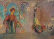 Woman in a gothic arcade: woman with flowers 1905 by Odilon Redon Framed Print on Canvas