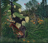 Fight between a Tiger and a Buffalo 1908 by Henri Rousseau Framed Print on Canvas