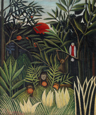 Monkeys and Parrot in the Virgin Forest 1905 by Henri Rousseau Framed Print on Canvas