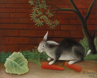 The Rabbit's Meal 1908 by Henri Rousseau Framed Print on Canvas