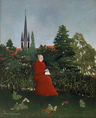 Portrait of a Woman in a Landscape 1893–1896 by Henri Rousseau Framed Print on Canvas