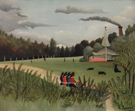 Landscape and Four Young Girls 1895 by Henri Rousseau Framed Print on Canvas