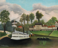 The Laundry Boat of Pont de Charenton 1895 by Henri Rousseau Framed Print on Canvas
