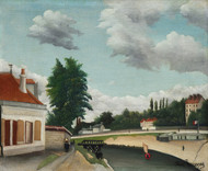 Outskirts of Paris 1897 by Henri Rousseau Framed Print on Canvas