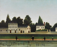 Landscape and Four Fisherman by Henri Rousseau Framed Print on Canvas