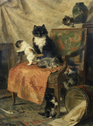Kittens at play 1897 by Henriette Ronner-Knip Framed Print on Canvas